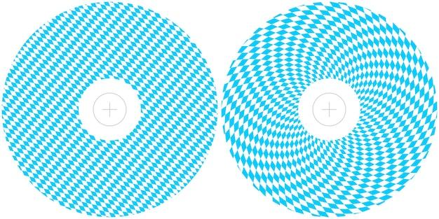 Шаблоны для оформления октоберфеста. круглые полиграфические макеты сине-белого баварского флага для обложек cd и dvd. Premium векторы