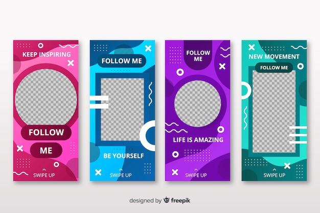 Templates of instagram stories design Free Vector