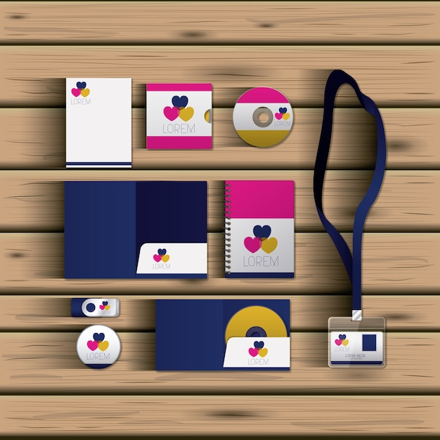templates of hearts of corporate stationery vector premium download