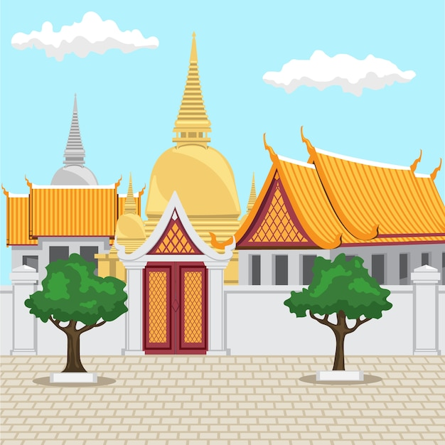 Temple in bangkok thailand ancient thai architecture consists of a golden temple. Premium Vector