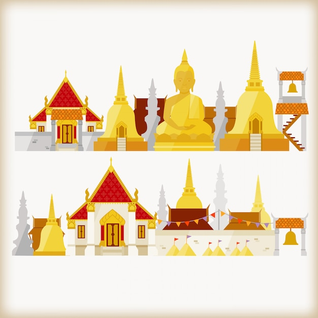 Temple in thailand Premium Vector
