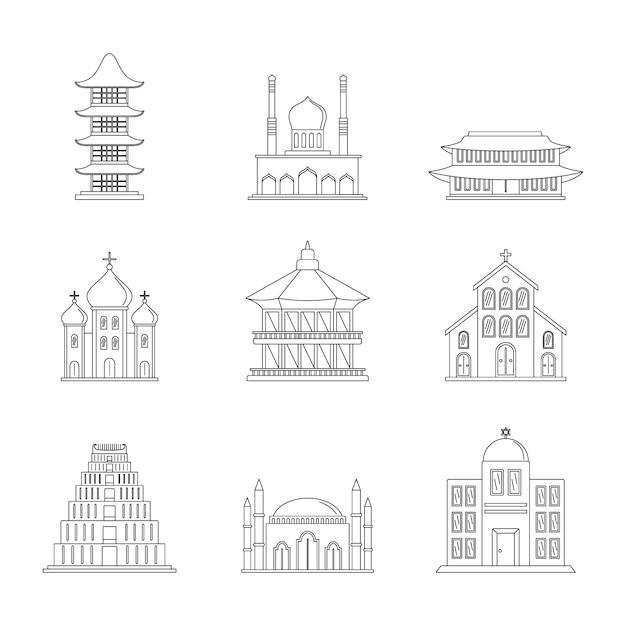 Temple tower castle icons set Premium Vector