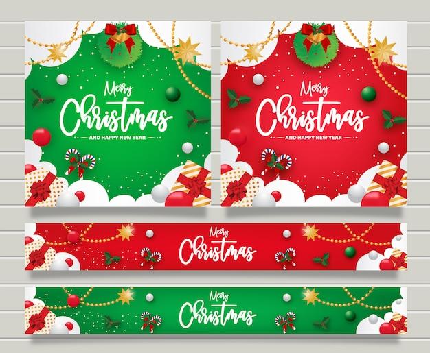 クリスマスと新年あけましておめでとうございますグリーティングバナーtemplte Premiumベクター
