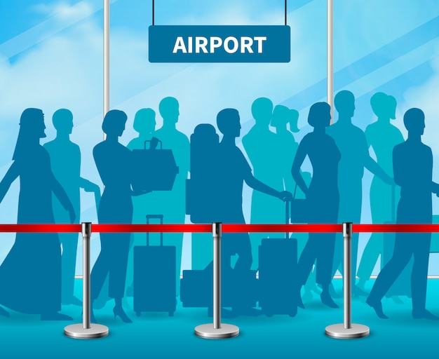 Temporary fencing barrier people airport composition Free Vector