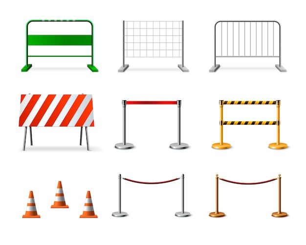 Temporary fencing barrier realistic icon set Free Vector