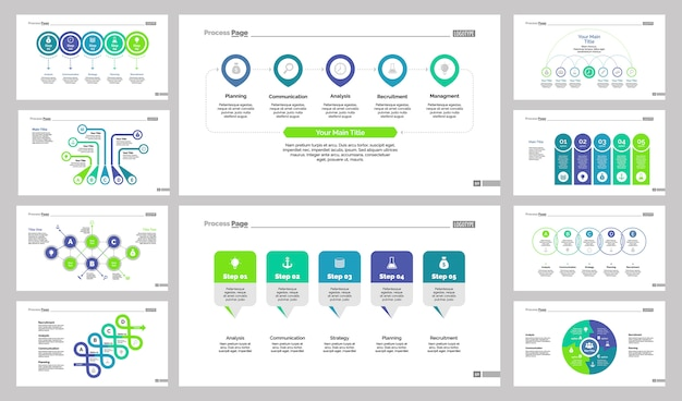 ten business slide templates set vector free download