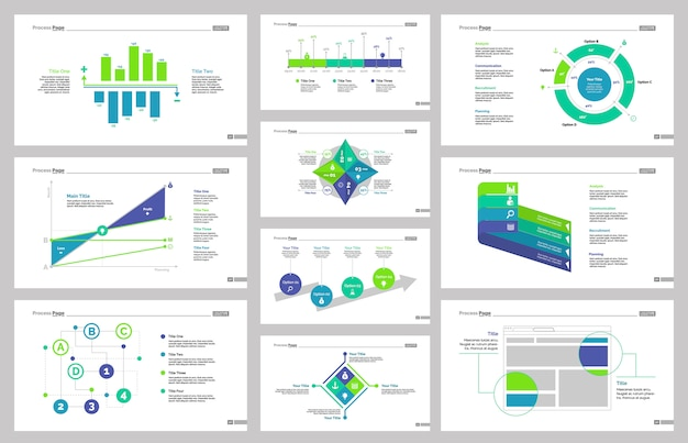 ten business slide templates set vector free download