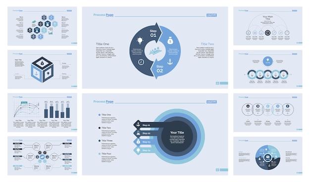 10 비즈니스 슬라이드 템플릿 세트 무료 벡터