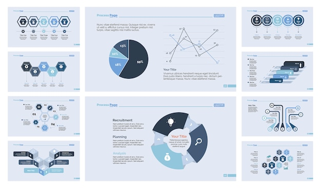 Ten finance slide templates set Free Vector
