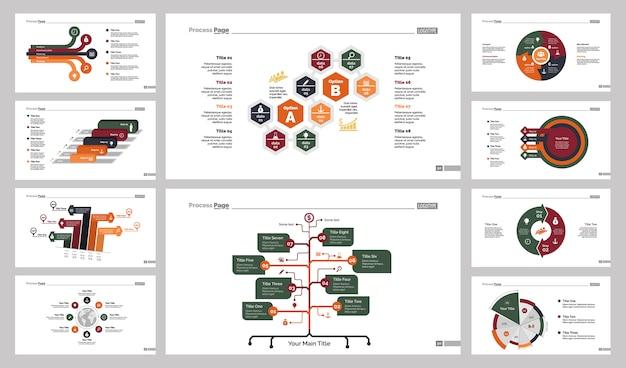 Ten logistics charts slide templates set Free Vector