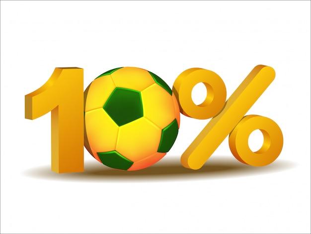 Значок десять процентов скидки с футбольным мячом бразилии Premium векторы