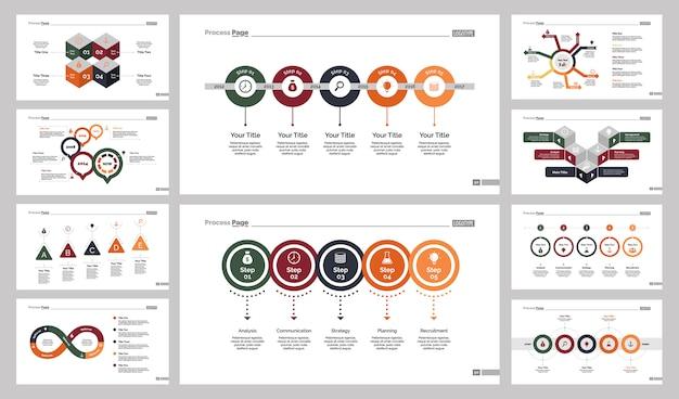 Ten production slide templates set Free Vector