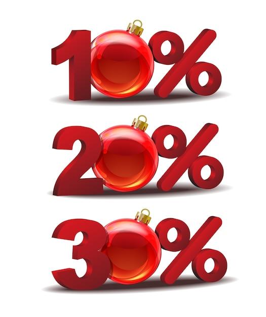 ガラスクリスマスボールと10、20、30%割引アイコン Premiumベクター