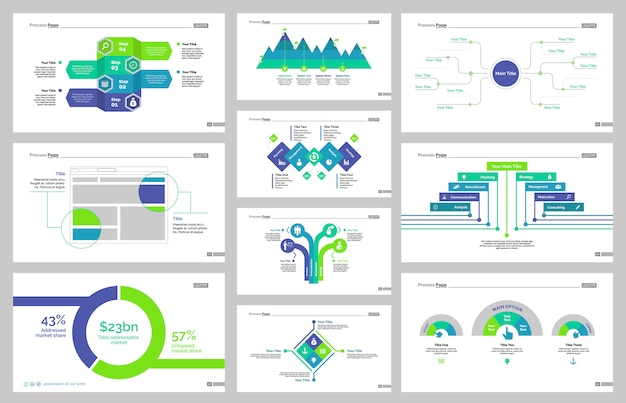 Ten Workflow Slide Templates Set Free Vector