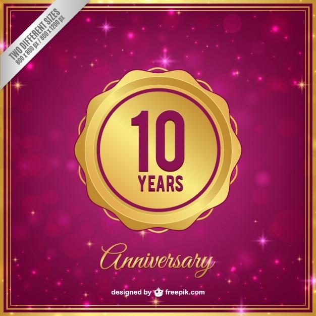 Десять лет юбилей золотой значок Бесплатные векторы