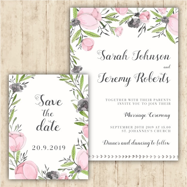 Tender floral wedding invitation Free Vector