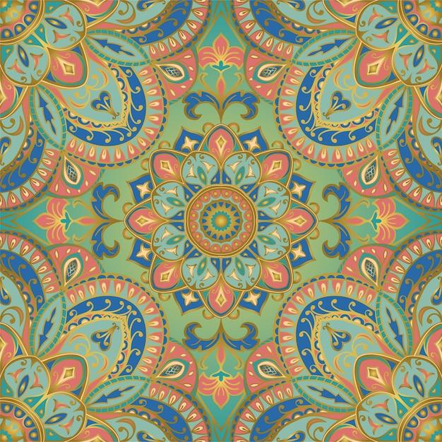 Tender indian pattern with mandala. Premium Vector
