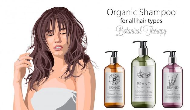 Donna tenera con frangia pubblicità shampoo biologico con cura a base di erbe. varie piante e colori. menta, arancia e lavanda Vettore gratuito