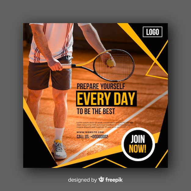 Tennis athlete banner with photo Free Vector