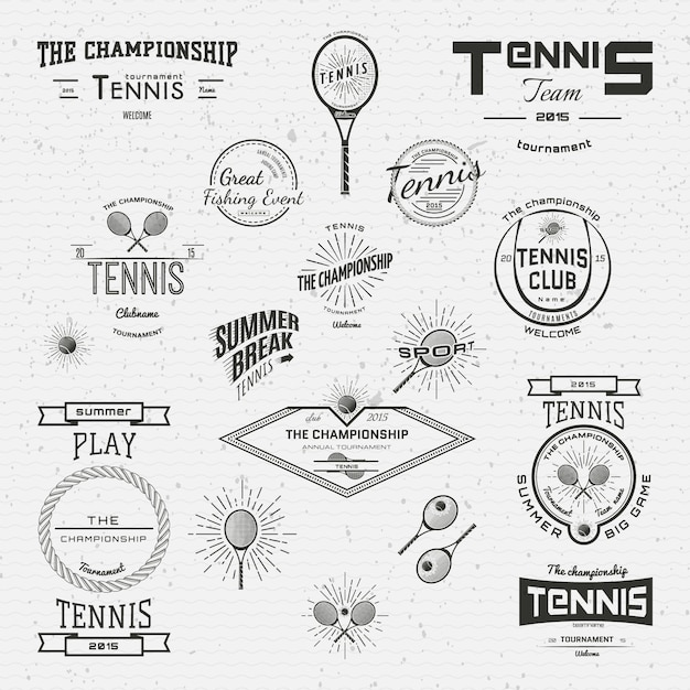 Tennis badges logos and labels for any use Premium Vector