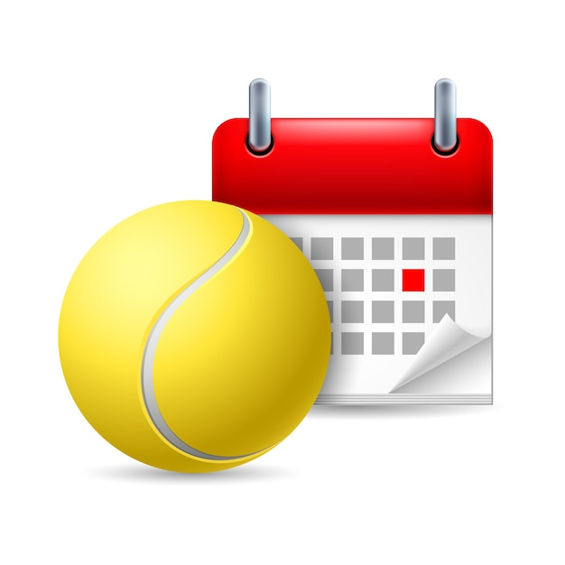 Tennis ball and calendar with marked day. sport event Premium Vector