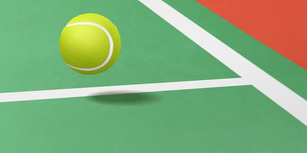 Tennis ball flying under court realistic vector Free Vector