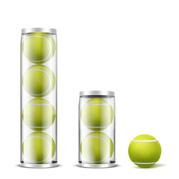 Теннисные мячи в пластиковых банках реалистичный вектор Бесплатные векторы