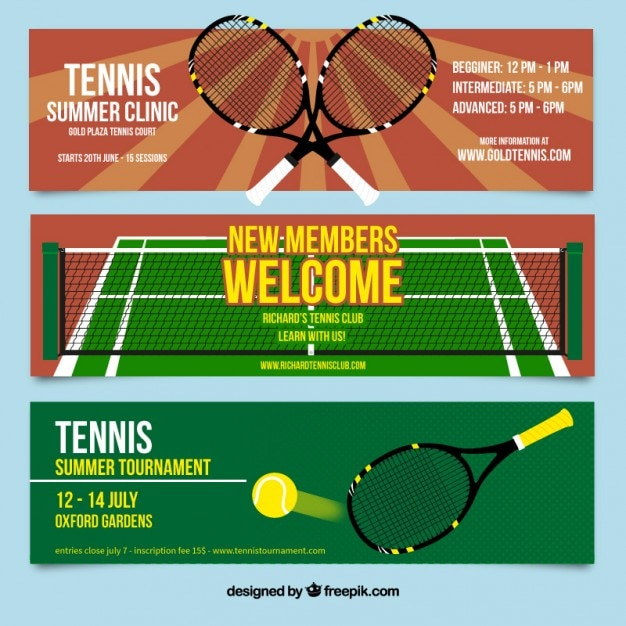 tennis templates free  Tennis banners set Vector | Free Download