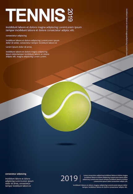 Tennis championship poster template Premium Vector