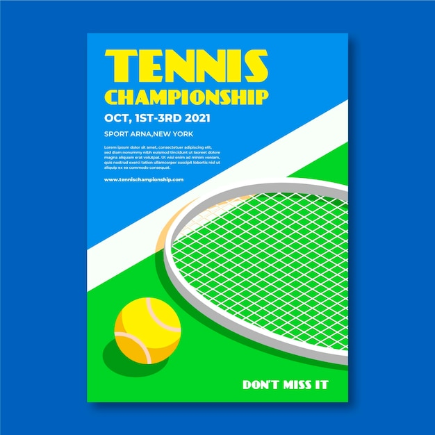Tennis championship sporting event poster template Free Vector