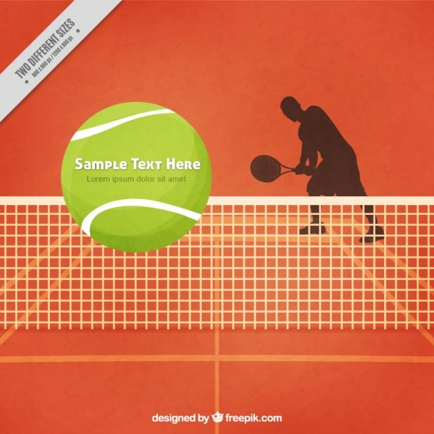 Tennis court background with tennis player\ silhoutte