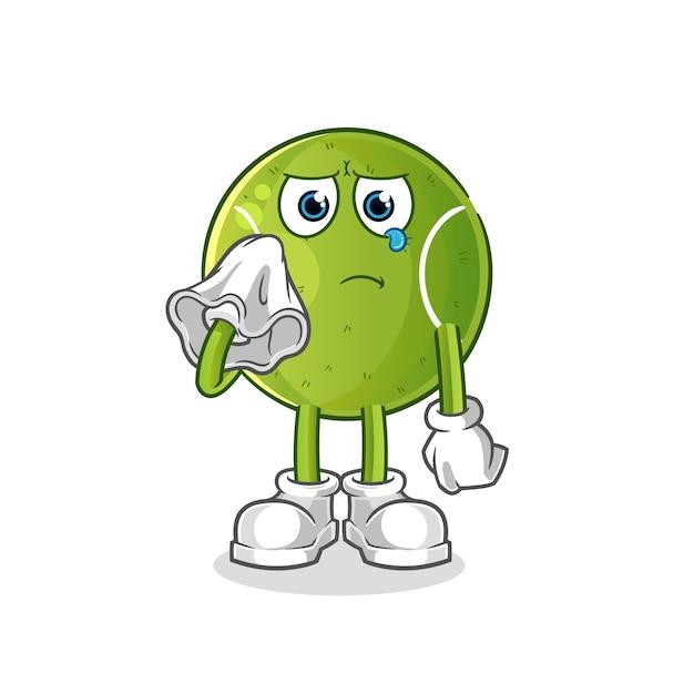 Теннисный клич тканевого характера. мультфильм талисман Premium векторы