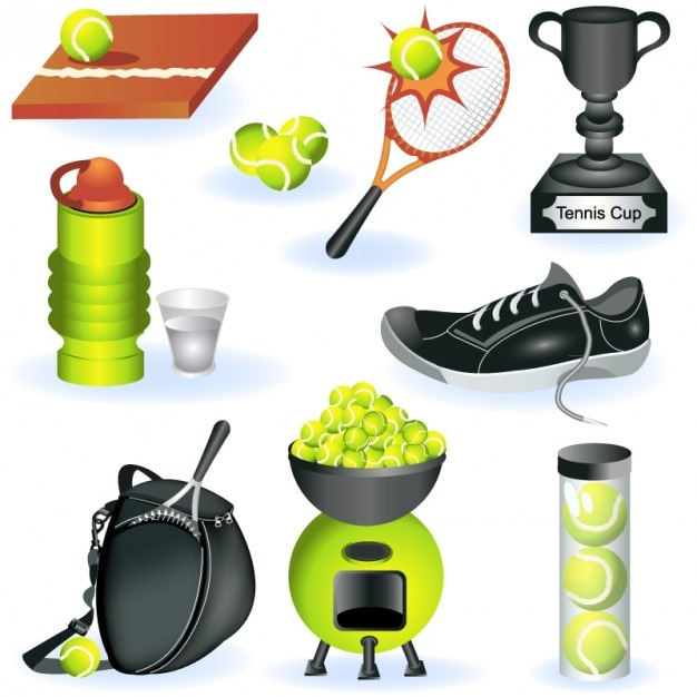 Tennis elements vector set.