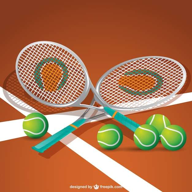 Tennis equipment vector Free Vector