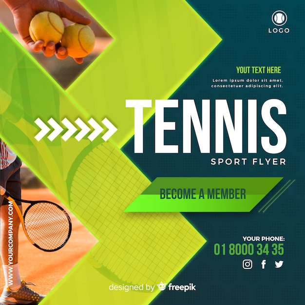 Tennis flyer Free Vector