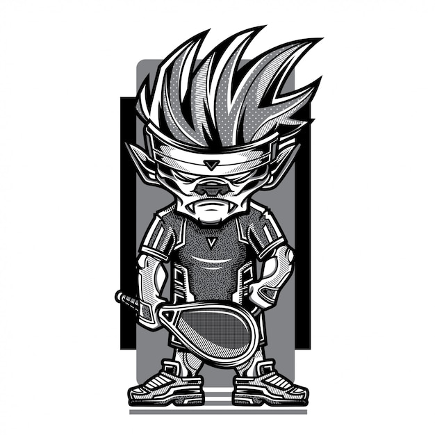 Tennis game black and white illustration Premium Vector