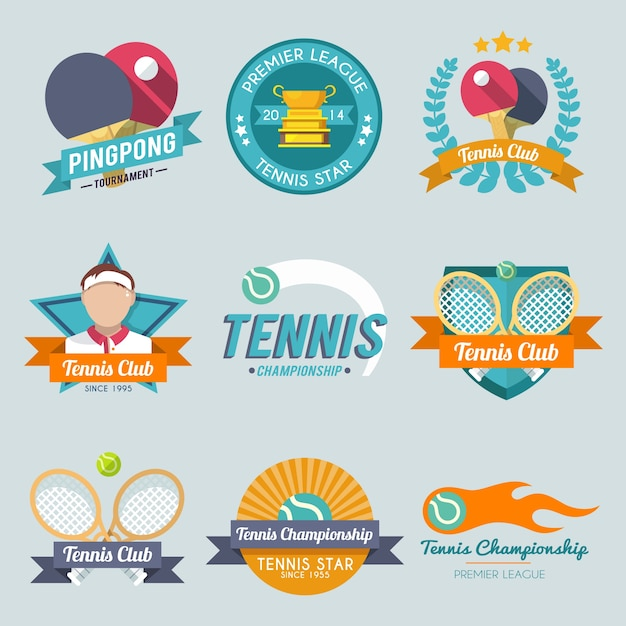 Tennis label set Free Vector