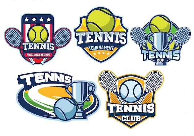 Tennis logo design set Premium Vector