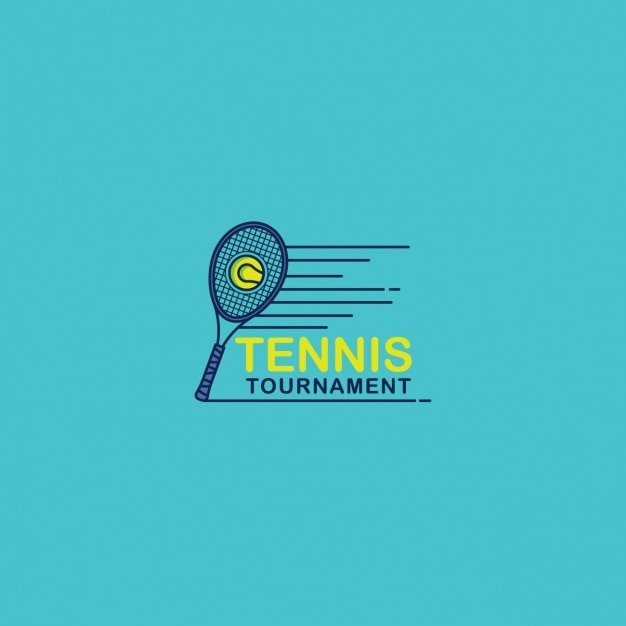 Tennis logo on a blue background
