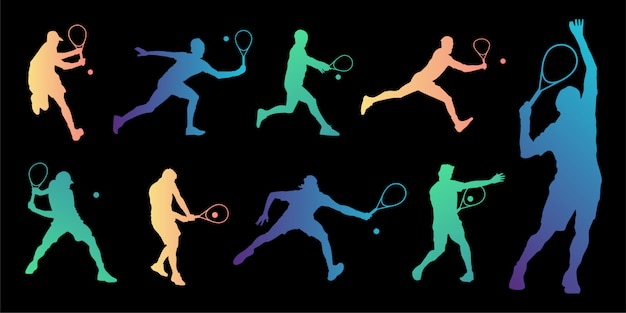 Tennis player silhouettes collection. Premium Vector