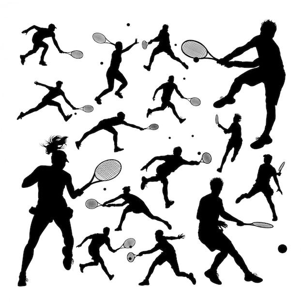 Tennis player silhouettes Premium Vector