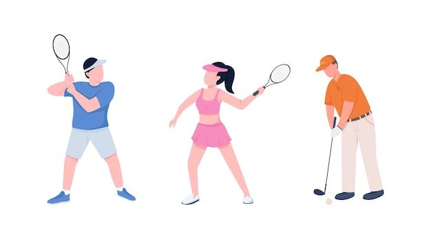 테니스 선수 커플 평면 색상 익명 문자 집합. 라켓과 스포츠맨과 Sportswoman. 웹 그래픽 디자인 및 애니메이션 컬렉션을위한 스포츠 격리 된 만화 그림 프리미엄 벡터