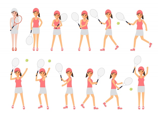 Tennis players, tennis sport athletes in actions. Premium Vector