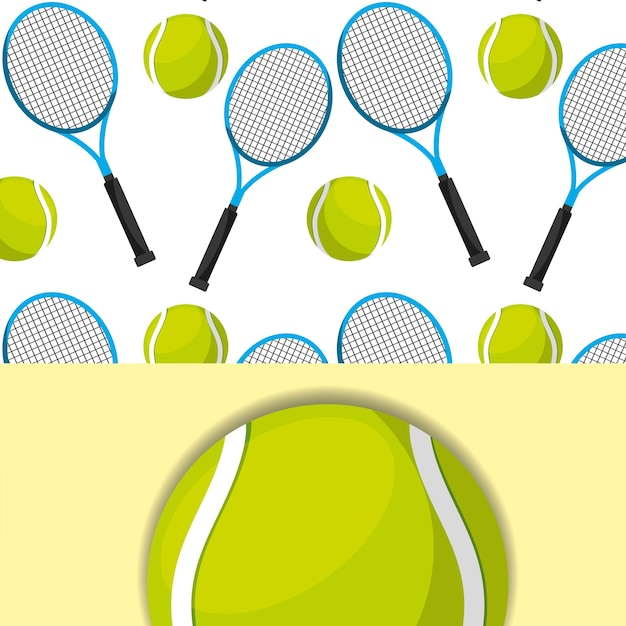Tennis racket and ball sport competition pattern Premium Vector