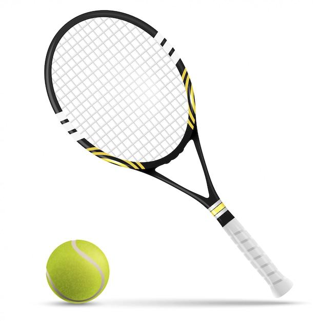 Tennis racket and ball Premium Vector