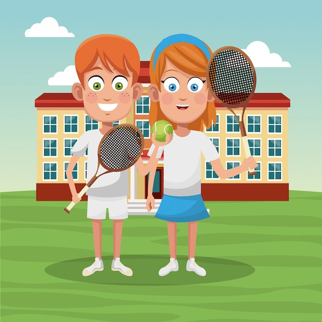 Tennis school team Premium Vector