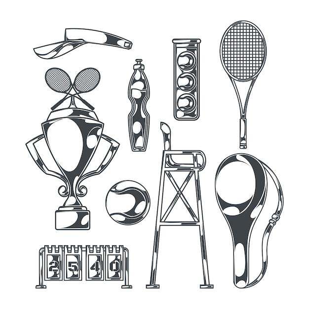 테니스 라켓과 컵 스포츠 장비의 고립 된 흑백 이미지로 설정 무료 벡터