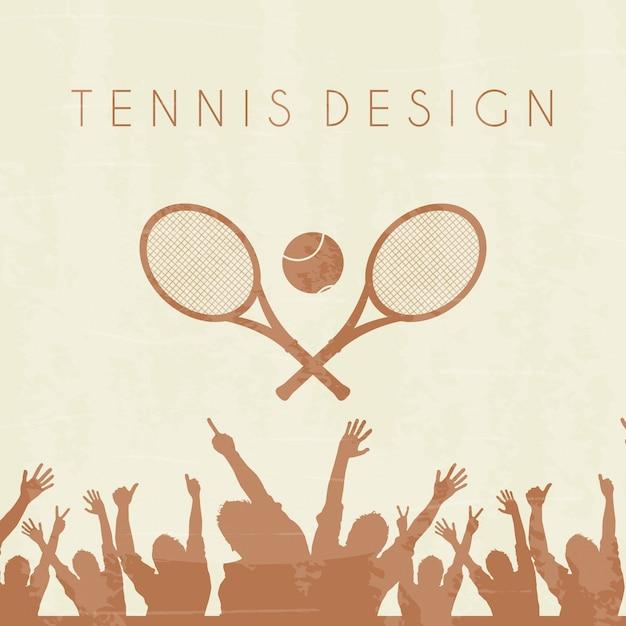 Tennis silhouette over brown background vector illustration Premium Vector
