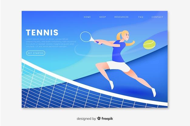 テニススポーツのランディングページ 無料ベクター
