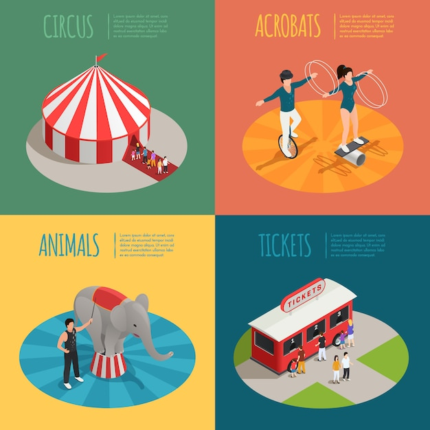 Tent acrobats ticket cashier trailer and elephant trainer square compositions Free Vector